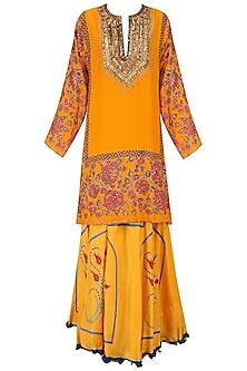 Yellow and Pink Floral Printed Kurta and Skirt Set by Anupamaa Dayal