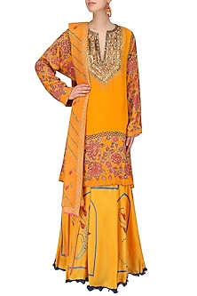 Yellow and Pink Floral Printed Kurta and Skirt Set by Anupamaa Dayal
