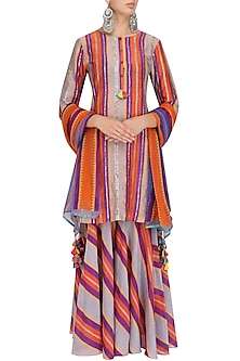 Grey Striped Kurta and Sharara Pants Set by Anupamaa Dayal
