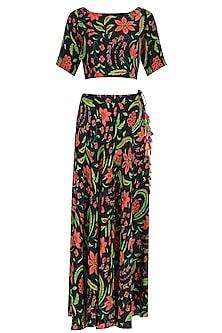 Black Floral Printed Crop Top and Skirt Set by Anupamaa Dayal