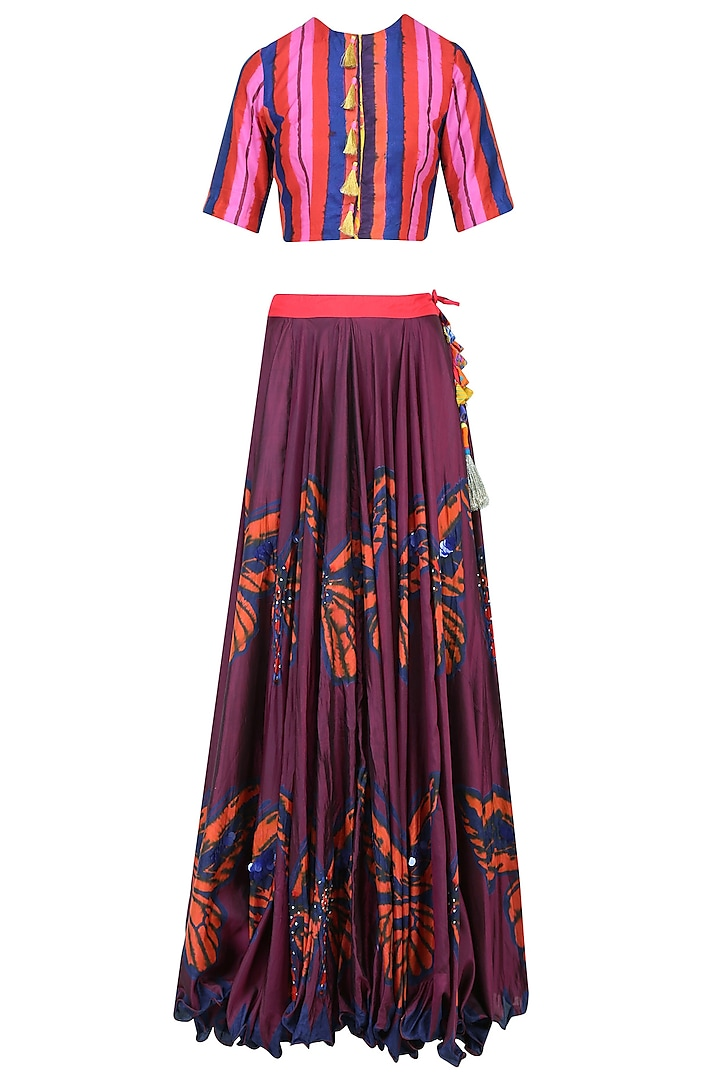 Maroon Butterfly Print Lehenga Skirt with Crop Top by Anupamaa Dayal
