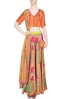 Orange Floral Printed Lehenga Set by Anupamaa Dayal