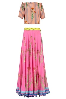 Light Pink Floral Printed Lehenga Set with off Shoulder Blouse by Anupamaa Dayal