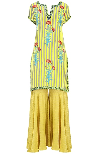 Lemon Yellow Striped Floral Printed Short Kurta Set with Sharara Pants by Anupamaa Dayal