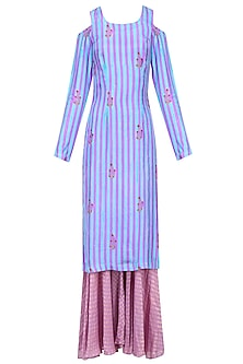 Purple Striped Cold Shoulder Kurta Set with Sharara Pants by Anupamaa Dayal