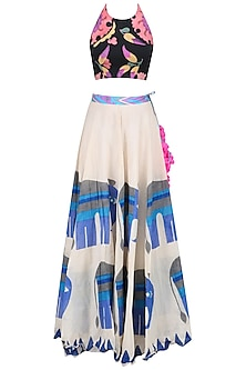 Black Crop Top with Off White Elephants Print Skirt Set by Anupamaa Dayal