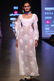 White Chikankari Embroidered Maxi Dress by Anupamaa Dayal