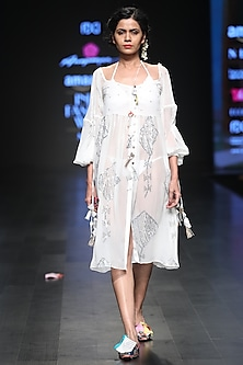 White Sequins Embroidered Front Open Knee Length Dress by Anupamaa Dayal