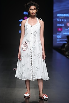 White Sequins Embroidered Front Open Midi Dress by Anupamaa Dayal