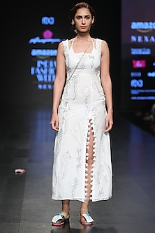 White Sequins And Tassel Embellished Maxi Dress by Anupamaa Dayal