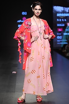 Pink Off Shoulder Printed Maxi Dress And Red Asymmetrical Overlayer by Anupamaa Dayal