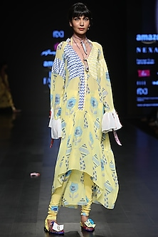 Lemon Yellow Kites Print Dress by Anupamaa Dayal