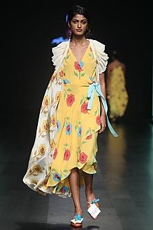 Yellow Printed Wrap Dress With Ruffled Tie Up by Anupamaa Dayal