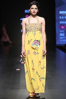 Yellow Empire Line Maize Dress by Anupamaa Dayal