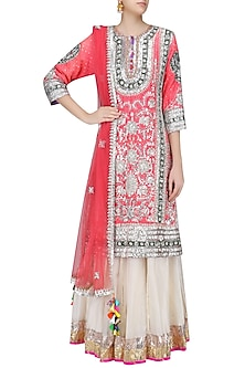 Neon Pink Gota Patti Work Kurta with Dupatta