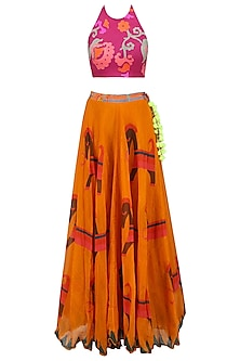 Pink Floral Printed Crop Top and Orange Skirt Set by Anupamaa Dayal