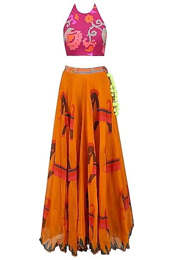 Pink Floral Printed Crop Top and Orange Skirt Set by Anupamaa Dayal