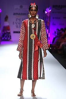 Red diamond and stripes printed wrap dress by Anupamaa Dayal