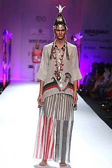 Grey stripes and horse printed asymmetric shirt by Anupamaa Dayal