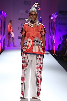 Red stripes and elephant printed button down shirt by Anupamaa Dayal