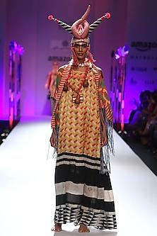 Orange and black geometric printlong maxi dress by Anupamaa Dayal