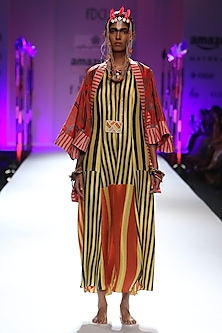 Yellow, black and orange stripes print long maxi dress by Anupamaa Dayal