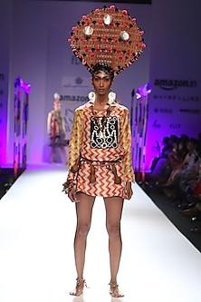 Yellow and orange chevron stripes print dress with cowrie by Anupamaa Dayal