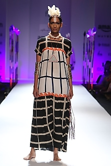 White, blue and black tiered dress by Anupamaa Dayal