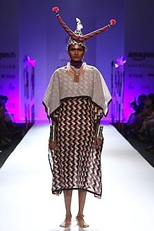Ivory, black and orange zigzag striped kaftan dress by Anupamaa Dayal