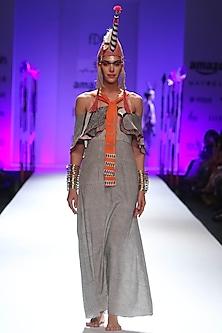 Ivory and black zigzag stripes printed off shoulder long dress by Anupamaa Dayal