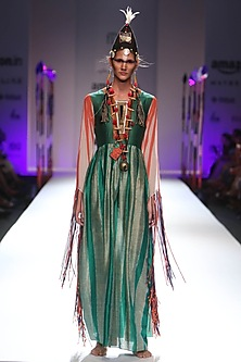 Emerald green and golden wave panelled maxi dress by Anupamaa Dayal