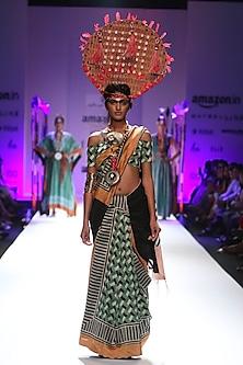 Black, green and white geometric print saree by Anupamaa Dayal