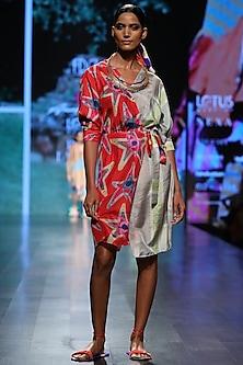 Red and Aqua Wrap Up Dress by Anupamaa Dayal