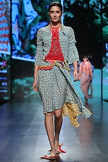 Light Turquoise Printed Dress by Anupamaa Dayal
