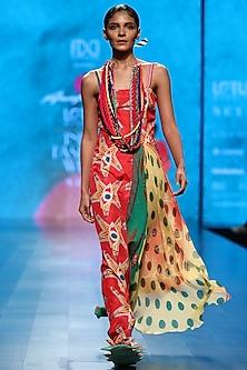 Multicolor Scarf Printed Long Dress by Anupamaa Dayal