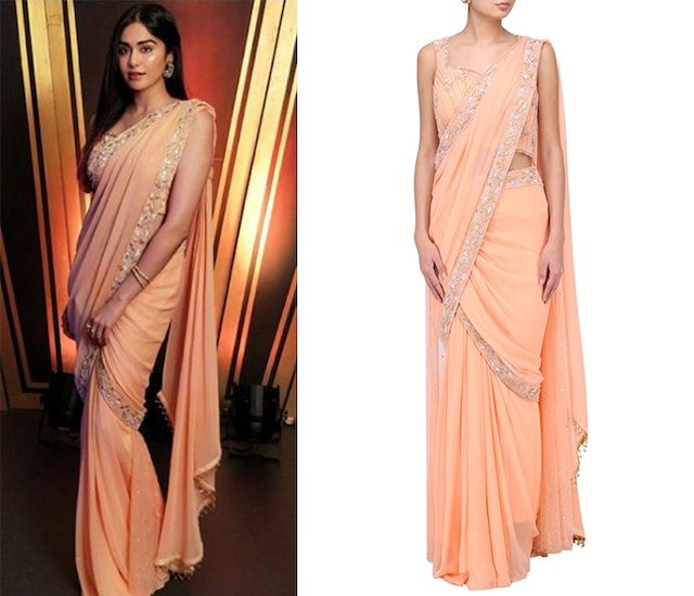 Peach Embroidered Pre Sticted Saree by Suvi Arya