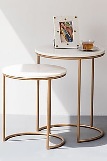 Gold Legged Ivory Marble Nesting Table (Set of 2) by The Decor Remedy