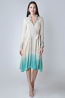 Beige To Green Dip Dyed Embroidered Tunic by Adah