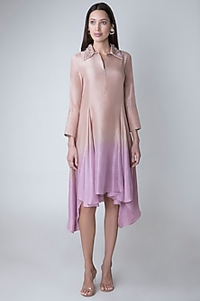 Nude To Lilac Dip Dyed Embroidered Tunic by Adah