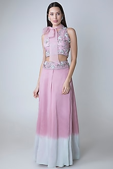 Lilac Embroidered Crop Top With Flared Skirt & Belt by Adah
