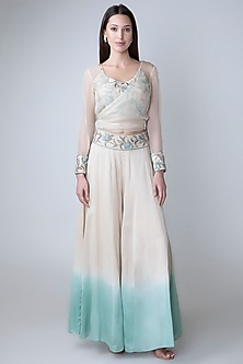 Beige Embroidered Crop Top With Jacket & Dyed Pants by Adah