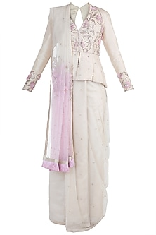 Beige Embroidered Half & Half Saree Set by Adah