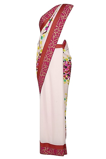 "Off white ""Petunia"" multicolour hues trees handpainted saree with an unstitched blouse piece by Aadi Shop By Shalini"