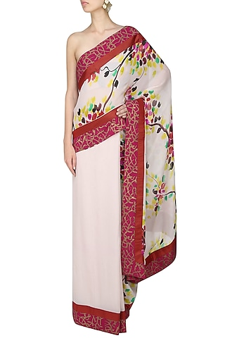 """Off white """"Petunia"""" multicolour hues trees handpainted saree with an unstitched blouse piece by Aadi Shop By Shalini"""
