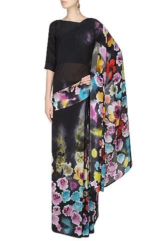 """Charcoal grey """"Jasmine"""" floral handpainted saree with an unstitched blouse piece by Aadi Shop By Shalini"""