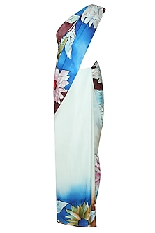 "Pastel blue ""Iris"" floral handpainted saree with an unstitched blouse piece by Aadi Shop By Shalini"