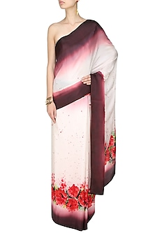 "Off white, wine and red ""Autumn Joy"" handpainted saree with an unstitched blouse piece by Aadi Shop By Shalini"
