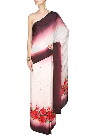 """Off white, wine and red """"Autumn Joy"""" handpainted saree with an unstitched blouse piece by Aadi Shop By Shalini"""
