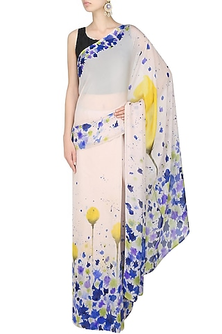 """Off white and royal blue """"Carnation"""" handpainted saree with an unstitched blouse piece by Aadi Shop By Shalini"""