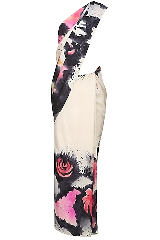 """Off white, black and pink """"Aster"""" floral handpainted saree with an unstitched blouse piece by Aadi Shop By Shalini"""